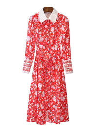 Floral Print Shirt Dress with White Collar in Red