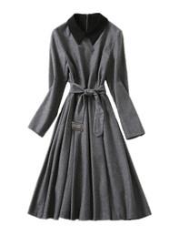 Flare Gray Pleated Midi Dress with Black Collar