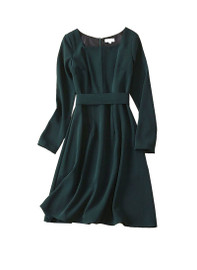 Belted Square Neck Emerald Fit and Flare Dress