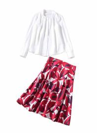 Pintuck White Blouse & Abstract High Waist Skirt Set