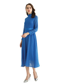 DOAB High Ruffled Neck Polka-dot Jacquard Midi Dress in Blue