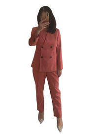 Double-breasted Blazer & Slim-leg Cropped Trousers Set in Coral