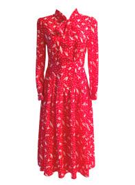 Ruffled Shoulder Pussy-bow Polka Dot Print Midi Dress in Red