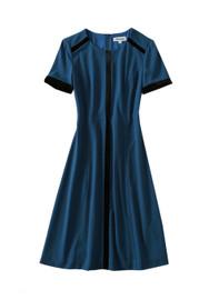 Short-Sleeve Crepe A-line Dress with Velvet Trim in Blue