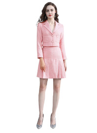 Tweed Crop Jacket & Pleated A-line Skirt Two-piece Set in Pink