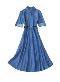 Belted Chambray Cotton Shirtdress in Mid Blue