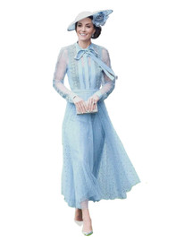 Pussy Bow Embroidered Tulle Dress in Dusty Blue