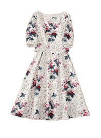 Floral Print Boxy Top Mock Two-piece Flared Dress