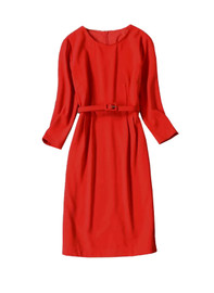 3/4 Sleeve Belted Fitted Pencil Sheath Midi Dress in Red - Limited