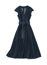 Cap Sleeved Belted Fit-and-Flare Midi Denim Dress in Midnight Navy