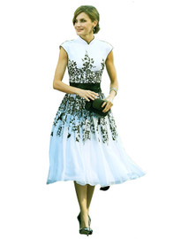 Mandarin Collar Oriental Fit-and-Flare Chiffon Midi Dress
