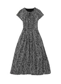 Teardrop Neckline Elastic Waist Midi Dress in Leopard Print