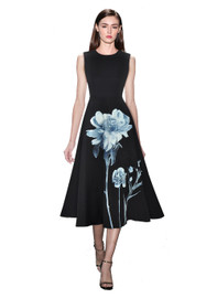 DOAB Sleeveless Floral Empire Waist Fit-and-Flare Midi Dress