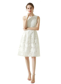 DOAB Floral Lace Eyelet Fit-and-Flare Midi Dress in White