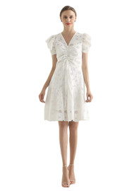 DOAB Ruffle Sleeve Floral Lace Embroidery Fit-and-Flare Dress in White