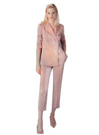 Satin Double -breasted Blazer & Cigarette Trousers Set in Dusty Pink