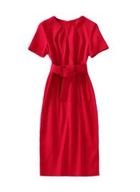 Padded Shoulder Pleated Neckline Sheath Slit Dress in Red