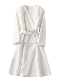 Wrap Over Peplum Frill Flared Dress Coat in Off White