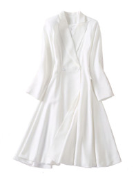 Lapel Collar Double-breasted Fit-and-Flare Dress Coat in White