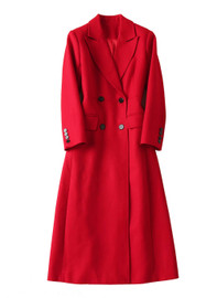 Double-breasted Military Style Longline Wool Coat in Red