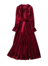 Luxury Velvet Fitted Waist Button Details Midi Dress in Burgundy