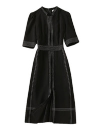 DOAB Mandarin Collar Fitted Vintage Midi Tea Dress in Black