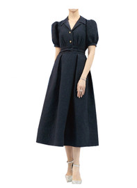 DOAB 50's Lapel Collar Embossed Pattern Swing Dress in Black
