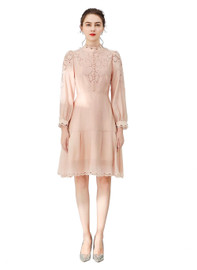 DOAB Stand-up Collar Embroidered Eyelet Knee-length Dress