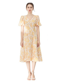 DOAB Floral Print V-neck Bubble Sleeve Silk Flared Dress
