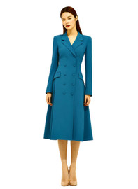 DOAB 40's Style Double-breasted Fitted Waist Dress Coat in Teal