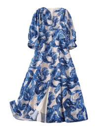 Boho Style Loose Fit Mosaic Patterned Silk Dress in Blue