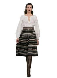 DOAB Peasant Embroidered White Blouse & Pom Pom Jacquard Skirt