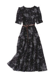 DOAB Ruffled Shoulder Black Wild Daisy Print Silk Dress