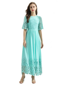 DOAB Short Sleeve Embroidered Trimmed Flared Dress in Teal