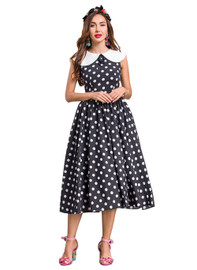 DOAB Retro Short Sleeve Polka Dot Print Fit-and-Flare Dress