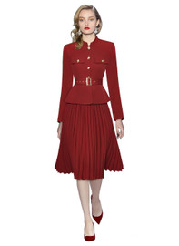 DOAB Belted Military Jacket & Pleated Mock Two-piece Dress