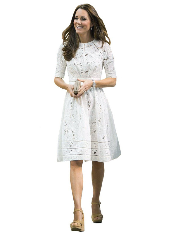 White Crochet Eyelet Lace Cotton Skater Dress