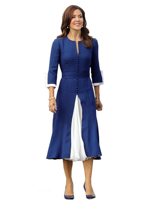 Princess Mary V-neck Button Front Contrast Midi Dress in Navy