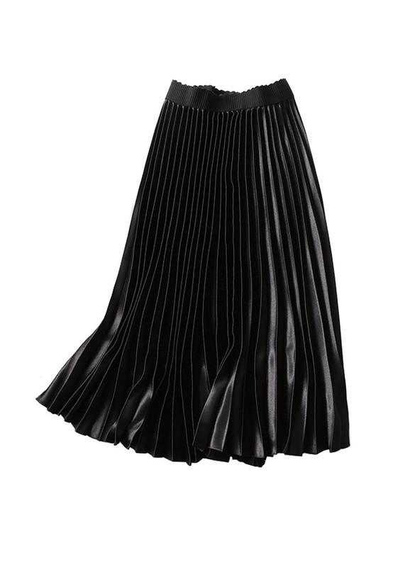 High Waisted Metallic Pleated Midi Skirt in Black