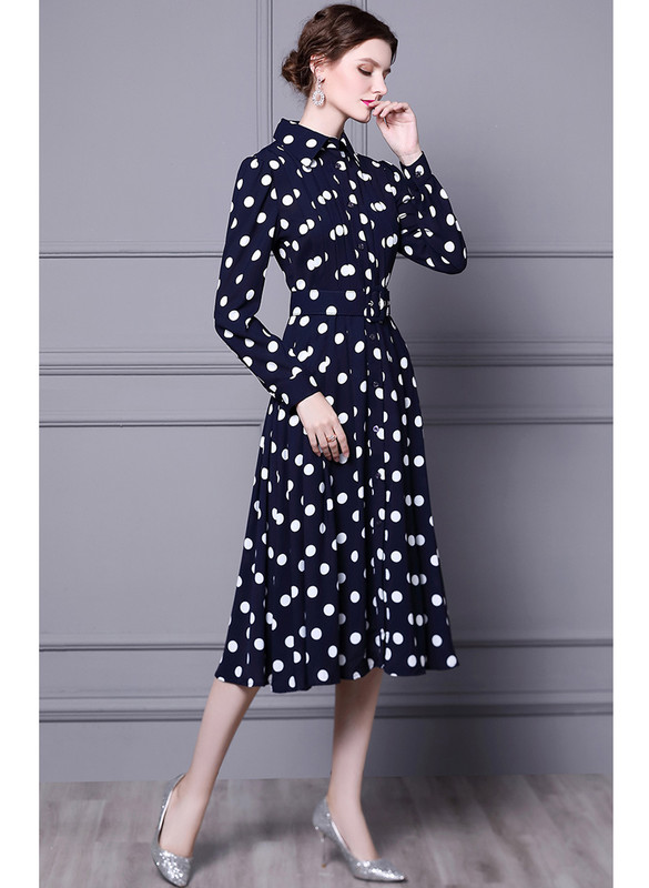 Button-Down Pleated Polka-dot Belted Shirtdress in Navy