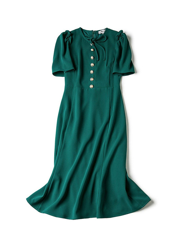 40s' Button Front Crepe Midi Dress in Forest Green