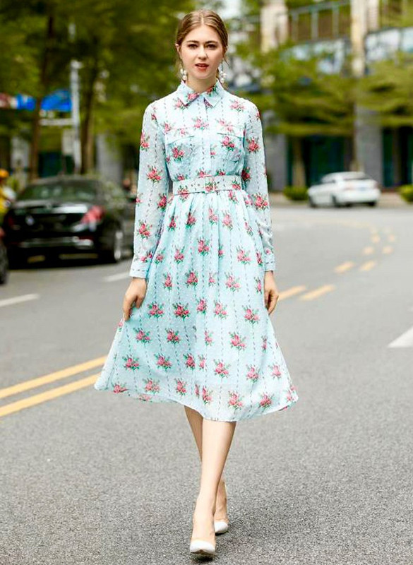 Floral Motif Belted Midi Shirt Dress in Light Blue