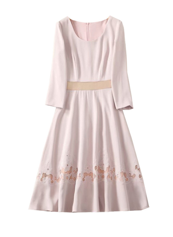 3/4 Sleeve Floral Embroidered Fit-and-Flare Dress in Pale Blush
