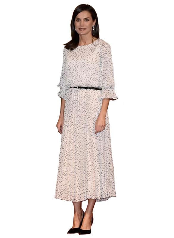 Ruffle Sleeved Polka Dot Jacquard Motif Pleated Chiffon Long Dress