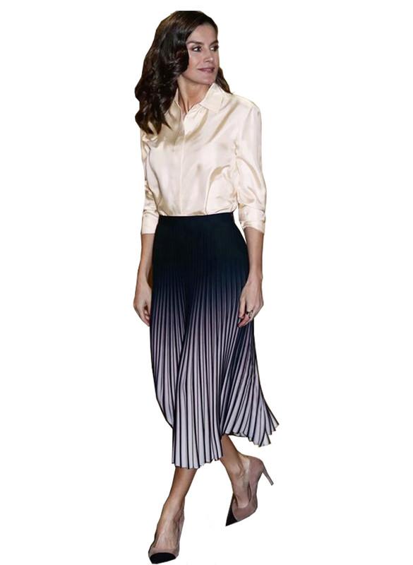 Button-up Blouse & Elastic Waist Ombré Knife Pleat Midi Skirt