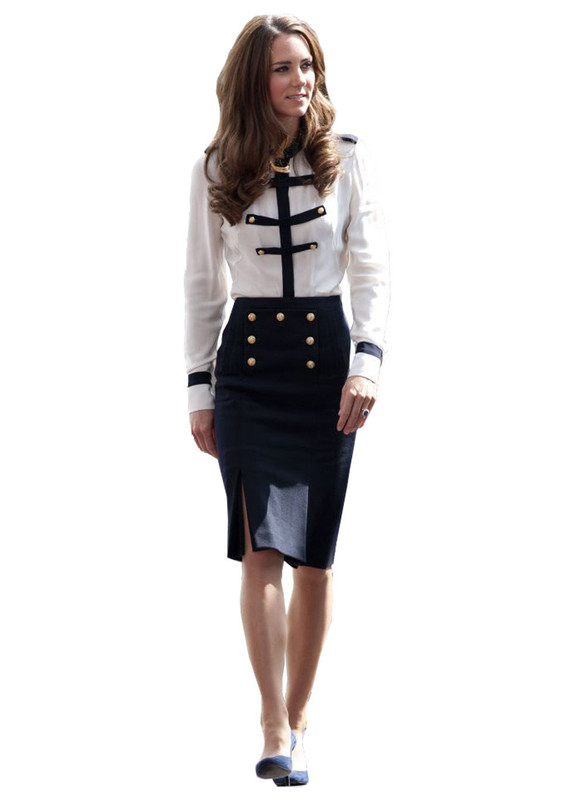 Military Style Chiffon Peplum Blouse & Slit Pencil Skirt Two-piece Set