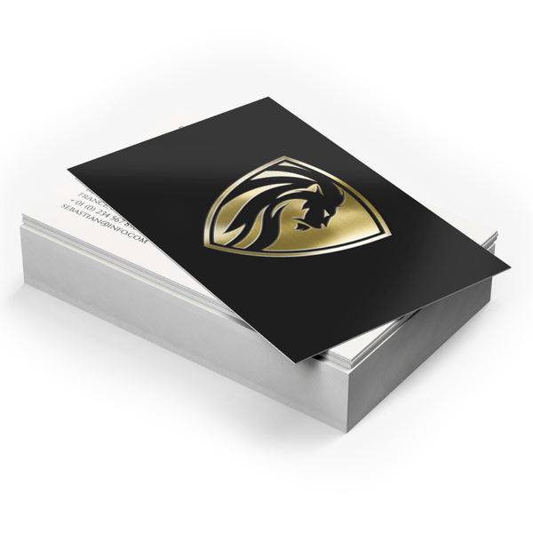 Metallic foil business cards are notable for their shiny, unique finish. The unique property of foil allows for some incredible looking designs not possible through other printing methods. Gold and silver foils are reflective and almost mirror-like, shimmer in all lighting conditions, and look especially great with black or white designs.
