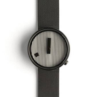 Nava Jacquard Watch, 39mm Black Mesh Band