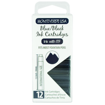 Monteverde USA® 12pc Ink Cartridges Clear Case Core Blue/Black