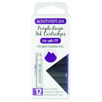 Monteverde USA® Core Purple Reign 12pc Ink Cartridges Clear Case